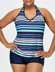 abordables -Femme A Bretelles Bleu Slip Brésilien Tankinis Maillots de Bain - Rayé XXXL XXXXL XXXXXL Bleu / Sexy