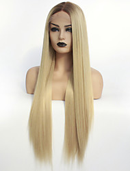 cheap -Synthetic Lace Front Wig Ombre Straight Middle Part Lace Front Wig Ombre Long Dark Brown / Golden Blonde Synthetic Hair 22-26 inch Women's Heat Resistant Color Gradient Middle Part Ombre / Glueless
