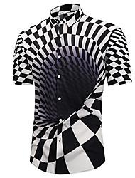 Недорогие -Муж. Пляж С принтом Рубашка Классический / преувеличены Геометрический принт / 3D / Шахматка Черное и белое Оранжевый / С короткими рукавами / Лето