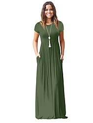 cheap -2019 New Arrival Women Daily Basic Maxi Sheath Dress Solid Color Robe Femme Vestidos High Waist Wine Army Green Royal Blue Dresses