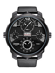 cheap -Oulm Men's Wrist Watch Quartz Oversized Fashion Creative Genuine Leather Black Analog - White Black Red One Year Battery Life / Japanese / Large Dial / Japanese / Jinli 377 / Steampunk