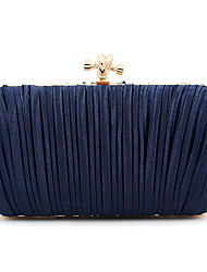 cheap -Women's Buttons Polyester / Alloy Evening Bag Solid Color Blue / Champagne / Black / Fall & Winter