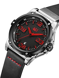 cheap -ASJ Men's Sport Watch Japanese Japanese Quartz Genuine Leather Black 100 m Calendar / date / day Casual Watch Analog Casual Fashion - Black Orange Red Two Years Battery Life / SSUO AG4