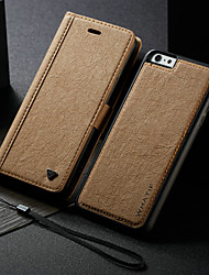 cheap -Case For Apple iPhone 6s Plus / iPhone 6 Plus Wallet / Card Holder / with Stand Full Body Cases Solid Colored Hard PU Leather
