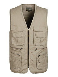 cheap -Men's Hiking Vest / Gilet Fishing Vest Outdoor Lightweight Breathable Quick Dry Wear Resistance Jacket Top Cotton Single Slider Fishing Hiking Climbing Army Green / Green / Khaki / Multi Pocket
