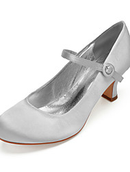cheap -Women's Satin Spring & Summer Vintage / Sweet Wedding Shoes Cuban Heel Round Toe Button Burgundy / Champagne / Ivory / Party & Evening