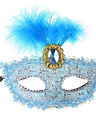 cheap -Lace Venetian Mask Masquerade Mask Half Mask Inspired by Cosplay Venetian Black Brown Halloween Halloween Carnival Masquerade Adults' Women's Female / Feather