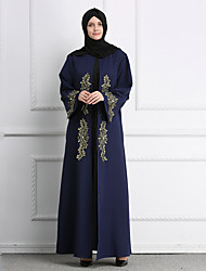 cheap -Adults' Women's A-Line Slip Ethnic Arabian Dress Abaya Kaftan Dress Jalabiya Muslim Dress Maxi Dresses For Halloween Daily Wear Festival Polyster Embroidery Embroidered Long Length Dress 1 Belt