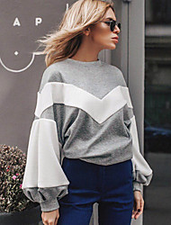 cheap -Women's Basic Sweatshirt - Color Block Fashion Gray M / Spring / Fall / Winter