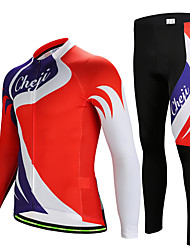 cheap -cheji® Men's Long Sleeve Cycling Jersey with Tights Winter Lycra Red Dot Patchwork Bike Clothing Suit Breathable Quick Dry Sports Dot Mountain Bike MTB Road Bike Cycling Clothing Apparel