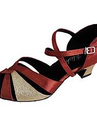 cheap -Women's Dance Shoes Satin Latin Shoes Sparkling Glitter Heel Thick Heel Coffee