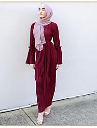 abordables -Adulte Femme Ethnique Robe Arabe Abaya Robe caftan Pour Halloween Usage quotidien Festival Elasthanne Polyester Couleur Pleine Long Robe 1 ceinture