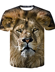 cheap -Men's Daily Club Street chic / Punk & Gothic T-shirt - Animal Lion, Print Round Neck Light Brown / Short Sleeve