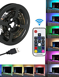 cheap -KWB 5V RGB Strip Lights 60 LEDs 5050 SMD 10mm 2M LED Strip Light 17-Key Remote Controller RGB TV Background Light