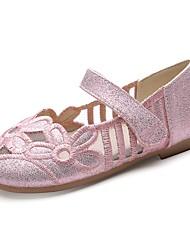 cheap -Girls' Comfort / Flower Girl Shoes Synthetics Flats Toddler(9m-4ys) / Little Kids(4-7ys) Hollow-out / Flower / Magic Tape Gold / Black / Pink Fall / Spring & Summer / Wedding / Wedding