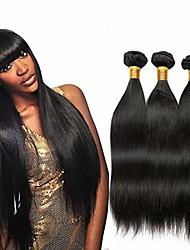 cheap -3 Bundles Brazilian Hair Straight Virgin Human Hair Natural Color Hair Weaves / Hair Bulk Costume Accessories Bundle Hair 8-28 inch Natural Color Human Hair Weaves Odor Free Best Quality New Arrival