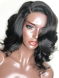 Недорогие -Синтетические кружевные передние парики Волнистый Естественные кудри Kardashian Стрижка каскад Боковая часть L-образный Лента спереди Парик Короткие Черный Искусственные волосы 14 дюймовый Жен.