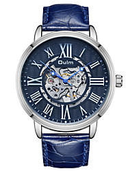 cheap -Oulm Men's Mechanical Watch Automatic self-winding Genuine Leather Black / Blue / Brown 30 m Water Resistant / Waterproof Casual Watch Cool Analog Casual Fashion - White Coffee Blue One Year Battery
