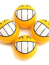 cheap -4 Pcs Smile Face Expression Car Tire Tyre Dust Stem Air Valve Caps