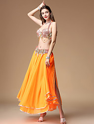 cheap -Belly Dance Skirts Split Ruching Women's Training Performance Sleeveless Dropped Polyester