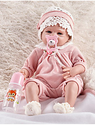 cheap -FeelWind 22 inch Reborn Doll Girl Doll Baby Boy Baby Girl Reborn Baby Doll lifelike Handmade Cute Kids / Teen Non-toxic Cloth 3/4 Silicone Limbs and Cotton Filled Body with Clothes and Accessories