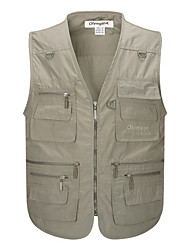 cheap -Men's Hiking Vest / Gilet Fishing Vest Outdoor Windproof Breathable Quick Dry Wear Resistance Top Canvas Single Slider Fishing Outdoor Exercise Dark Grey / White / Army Green / Grey / Khaki