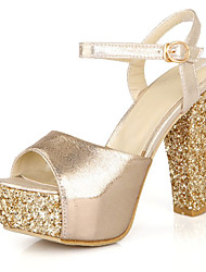 cheap -Women's PU(Polyurethane) Summer Sandals Chunky Heel Peep Toe Sequin / Buckle Gold / Fuchsia / Silver / Wedding / Party & Evening