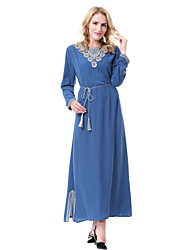 cheap -Women's Party Daily Work Vintage Abaya Jalabiya Dress - Solid Colored Split Spring Blue Black Fuchsia XL XXL XXXL
