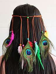 cheap -American Indian Headdress Adults' Bohemian Style Women's Rainbow Feather / Velour Party Cosplay Accessories Halloween / Carnival / Masquerade Costumes / Female