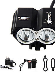 cheap -Headlamps Bike Light Waterproof Rechargeable 3000 lm LED LED 2 Emitters 4 Mode with Battery and Charger Waterproof Rechargeable Emergency Cycling / Bike / Aluminum Alloy