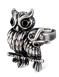 cheap -Men's Women's Ring Knuckle Ring Adjustable Ring Crystal 1pc Gray Silver Plated Alloy Vintage Rock Hyperbole Carnival Street Jewelry Vintage Style Engraved Owl Cool