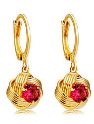 cheap -Women's Fuchsia Crystal Drop Earrings Classic Ball Stylish Romantic Modern bridesmaid Gold Plated Earrings Jewelry Gold For Daily Formal Office & Career 1 Pair