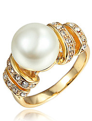 cheap -Women's Ring Promise Ring Cubic Zirconia 1pc Gold Silver 18K Gold Plated Imitation Pearl Yellow Gold Stylish Elegant Fashion Party Gift Jewelry Classic / Imitation Diamond