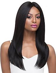 cheap -Human Hair Blend Wig Long Natural Straight Middle Part Black Fashionable Design Hot Sale Comfortable Capless Women's Jet Black #1 24 inch / Natural Hairline / Natural Hairline