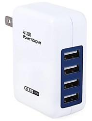 Недорогие -Портативное зарядное устройство / Беспроводное зарядное устройство Зарядное устройство USB Стандарт США 4 USB порта 3.1 A DC 5V для