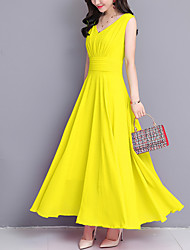 cheap -Women's Going out Beach Boho Street chic Maxi Sheath Swing Dress - Solid Colored Ruched V Neck Summer Yellow Fuchsia Wine XL XXL XXXL