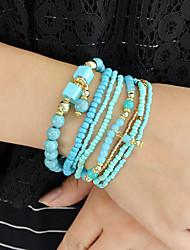 cheap -Women's Bead Bracelet Layered Aquarius Trendy Boho Acrylic Bracelet Jewelry Black / Green / Pink For Daily Date / Resin