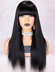 cheap -Remy Human Hair Lace Front Wig style Brazilian Hair Straight Black Wig 150% Density Odor Free Smooth Women Best Quality Thick Women's Medium Length Human Hair Lace Wig WoWEbony