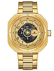 cheap -NAVIFORCE Men's Sport Watch Wrist Watch Japanese Japanese Quartz Stainless Steel Black / Gold / Pool 30 m Water Resistant / Waterproof Calendar / date / day Large Dial Analog Luxury Fashion - Golden