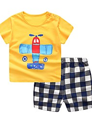cheap -Baby Boys' Basic Daily Blue & White Jacquard Short Sleeve Short Short Cotton Clothing Set Yellow / Toddler