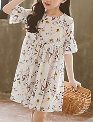 cheap -Kids Girls' Basic Polka Dot Short Sleeve Dress White
