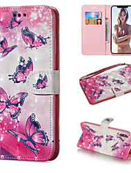 Недорогие -Кейс для Назначение Apple iPhone XS / iPhone XR / iPhone XS Max Кошелек / Бумажник для карт / со стендом Чехол Бабочка Твердый Кожа PU