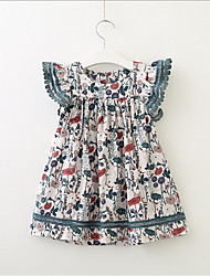 cheap -Toddler Girls' Sweet Cute Geometric Short Sleeve Dress White
