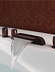 cheap -Bathtub Faucet - Antique Oil-rubbed Bronze Roman Tub Brass Valve Bath Shower Mixer Taps / Three Handles Five Holes