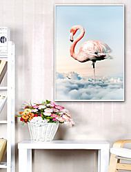 cheap -Framed Canvas Framed Set - Landscape Animals Plastic Illustration Wall Art