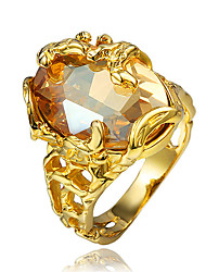 cheap -Women's Ring Engagement Ring Cubic Zirconia 1pc Gold 18K Gold Plated Yellow Gold Fashion Party Engagement Jewelry Classic