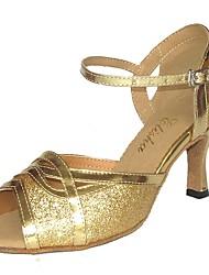 cheap -Women's Dance Shoes PU Latin Shoes Sparkling Glitter Sandal Flared Heel Customizable Black / Silver / Bronze
