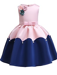 cheap -Kids Toddler Girls' Vintage Sweet Party Holiday Patchwork Bow Sleeveless Knee-length Dress Blushing Pink