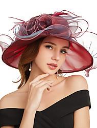 Недорогие -органза Кентукки дерби шляпа / Fascinators / Аксессуары для волос с Цветы / Несколько слоев 1 шт. Вечеринка / ужин / Работа / Свадьба Заставка