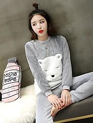 cheap -Adults' Hoodie Kigurumi Pajamas Bear Onesie Pajamas Polar Fleece Gray Cosplay For Men and Women Animal Sleepwear Cartoon Festival / Holiday Costumes